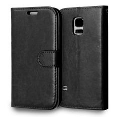 Kulit dengan Pemegang Kartu Kredit untuk Samsung Galaxy S5 Mini (Hitam)