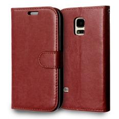 Kulit dengan Pemegang Kartu Kredit untuk Samsung Galaxy S5 Mini (Brown)