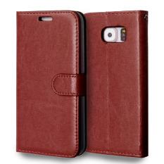 Kulit dengan Pemegang Kartu Kredit untuk Samsung Galaxy S6 (Brown)