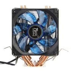 LED 4 Pipa Panas Tenang Pendingin Cpu Heatsink Dual Radiator Kipas untuk LGA 1155 775 Amd
