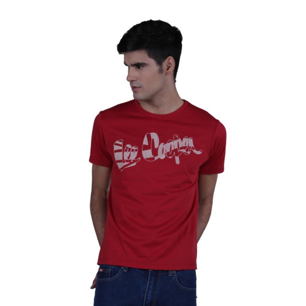 Kualitas Lee Cooper T Shirt Pria Regular Fit Merah Dan Jackbones Lee Cooper