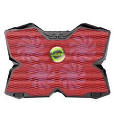 Leegoal KOBWA Laptop Cooler Pad Pendingin Ultra-tenang Gaming Notebook Cooler untuk 15.6-17 Inch Laptop dengan 1200 Rpm 4 Penggemar, Dual USB Port dan Multi Sudut Kemiringan Pilihan. (merah)-Intl