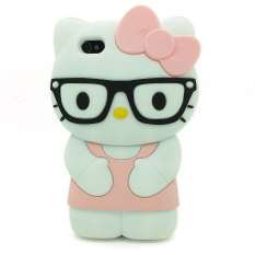 Leegoal Light Pink 3D Kacamata Lucu Hello Kitty Soft Silicone Case Cover untuk Apple IPhone4/