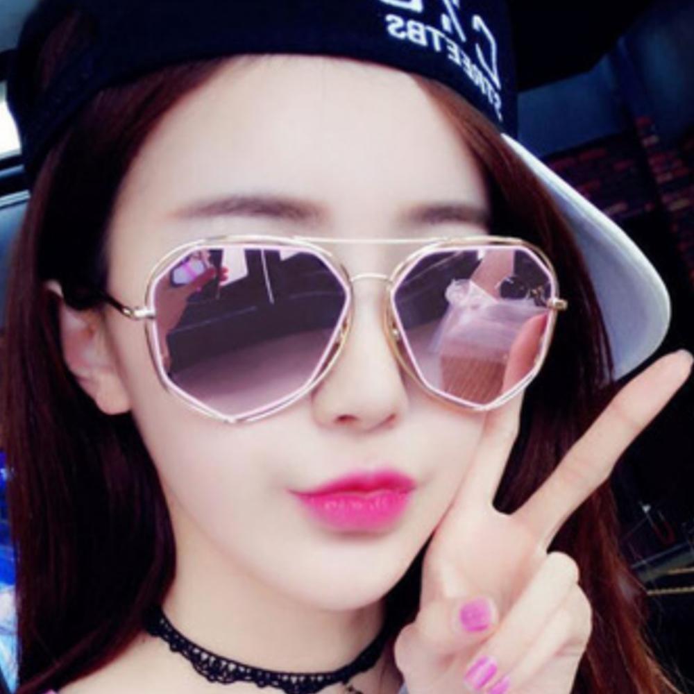 Jual Leegoal Pria Wanita Logam Frame Datar Mirrored Lensa Kacamata Busana Emas Dan Pink Murah Tiongkok