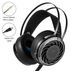 Leegoal Profesional M160. 3,5mm Stereo Headset Gaming PC, headphone Bass, Nyaman Destar, Atas Telinga Cocok dengan Kebisingan Isolasi, Lampu LED, For Laptop Komputer PS4 (hitam)-International