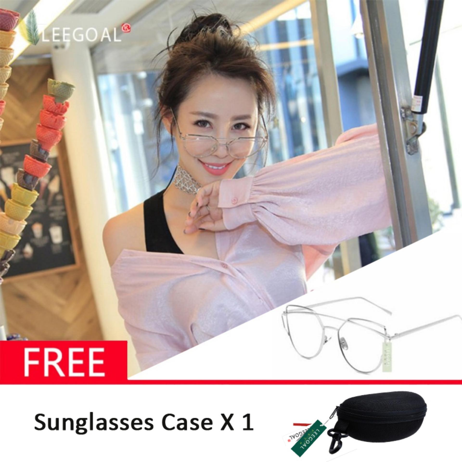 Rp 73.800. Leegoal wanita kacamata hitam Sunscreen Anti - UV warna Film kacamata busana, Sliver dan ...