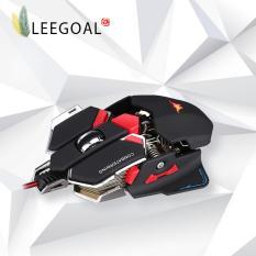 Leegoal Game Kabel mouse Diprogram 10 Tombol Combaterwing 4800 Dpi Kabel Optik Profesional Gaming Mouse, HITAM