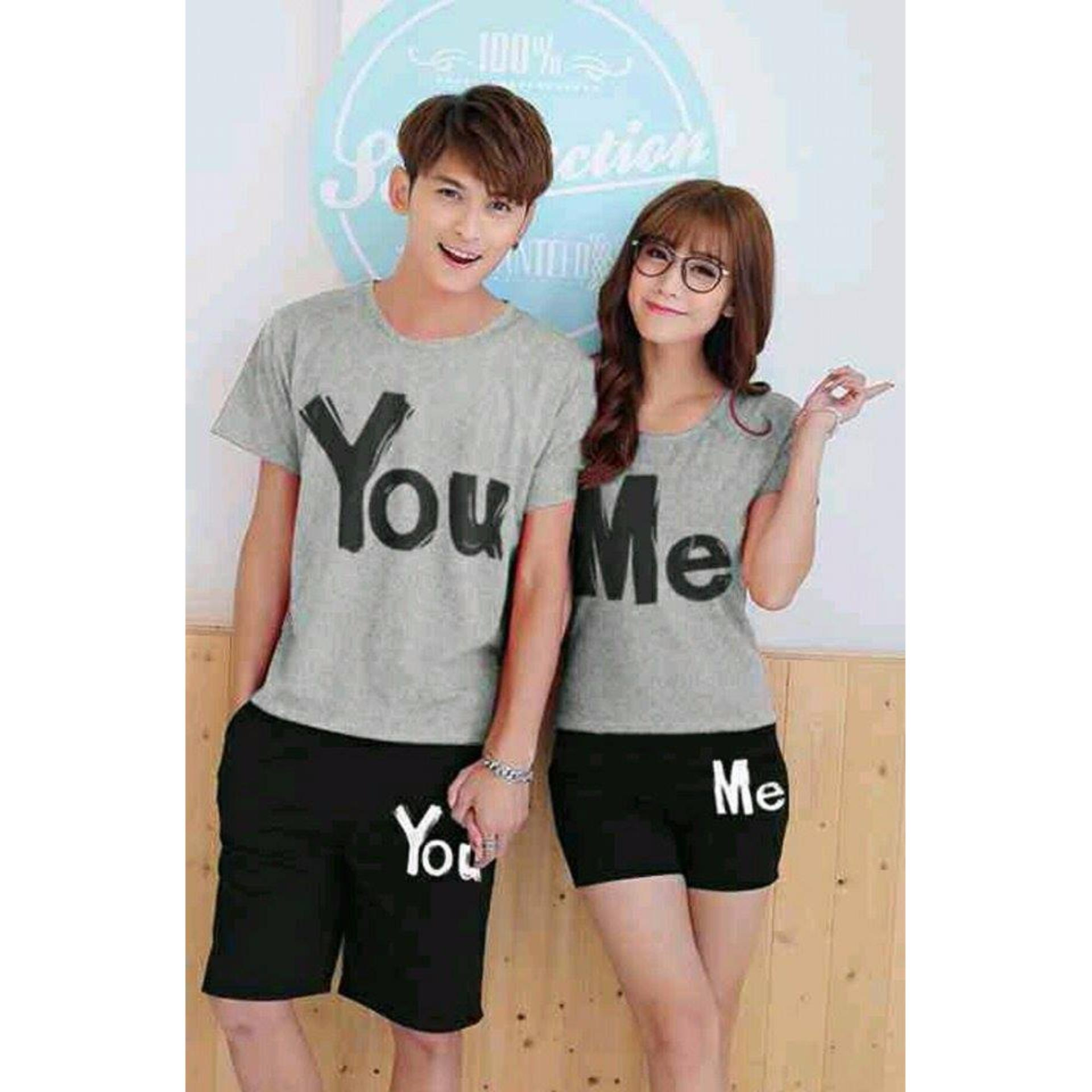 Promo Legionshop Trendy Couple Murah Stelan Kaos Pasangan T Shirt Couple You Me Maroon Black Baju Celana Di Indonesia