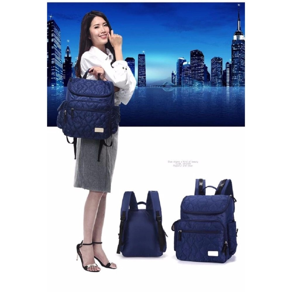 Model Lekebaby 2017 Large Waterproof Baby Stroller Diaper Backpack Navy Terbaru