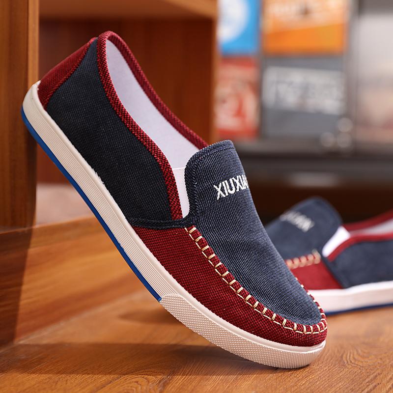 Beli Lembut Bawah Musim Panas Sepatu Sepatu Kasual Sepatu Pasang Baru Pria Corduroy Biru Terbaru