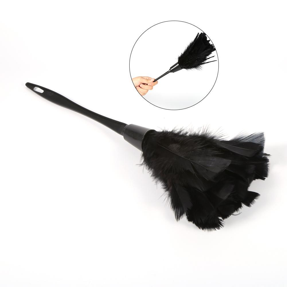furniture duster. Lembut Turkey Feather Duster Sikat Dengan Pegangan Home Furniture Alat Pembersih Mobil (Hitam)- R