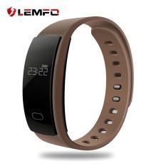 LEMFO QS80 0.42 Inch Monitor Detak Jantung Tracker Tahan Air Smart Gelang Coklat-Internasional