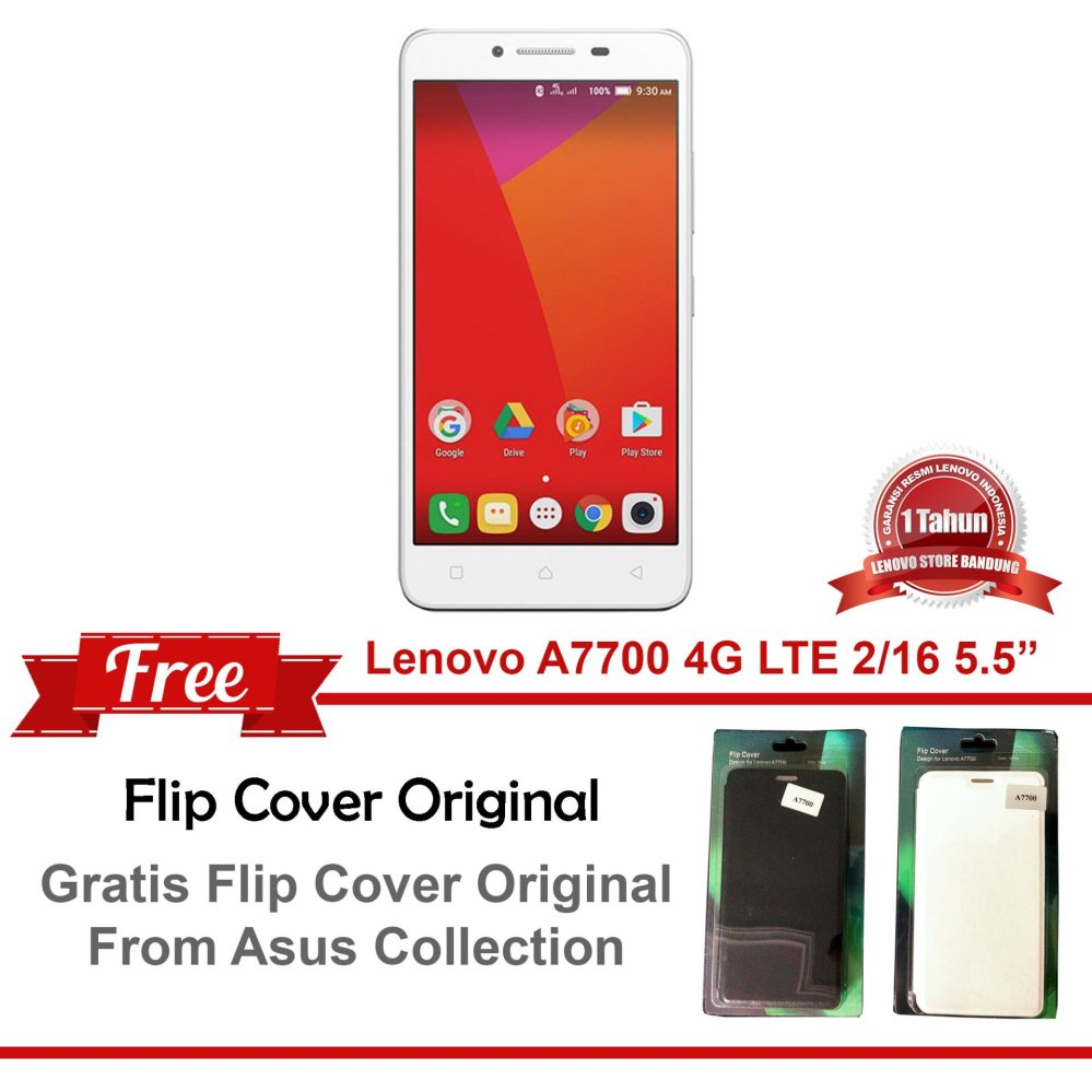 Lenovo A7700 4G Dual LED Flash 2/16 + Free Flip Cover .