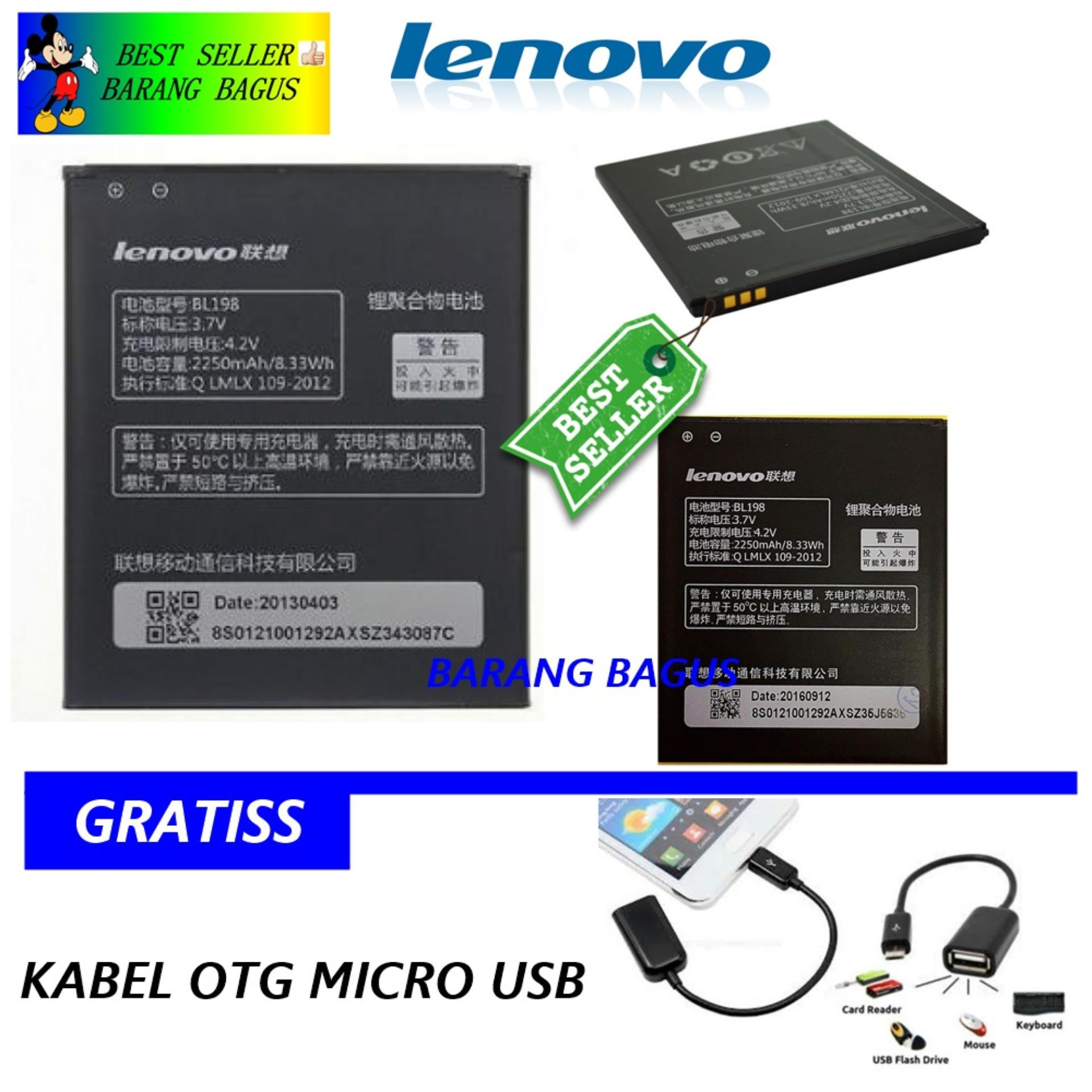 Lenovo Baterai / Battery BL198 Original For Lenovo S880 / S920 / S890 / K860 / A850 / A859 / A800- Kapasitas 2250mAh + Bonus Kabel Otg Micro Usb