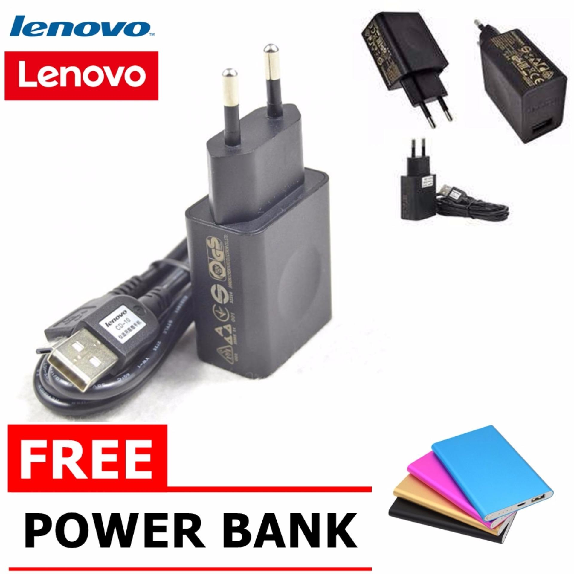 Lenovo Travel Charger Micro USB 2 A Original Hitam Free Power bank slim