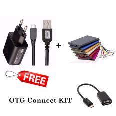 Lenovo Travel Charger Micro USB 2 A Original Hitam + Power bank slim Free OTG connect KIT