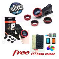 Lensa Fish Eye 3 In 1 Universal Clip Lens Fisheye Macro Wide  Free Phone Holder Tempel Gurita Universal 1pcs[ori ori]