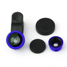 Lensa Fisheye 3in1 For Universal Smartphone Fisheye, Wide,Macro - Biru
