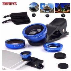 Lensa Fisheye 3in1 For Universal Smartphone Fisheye, Wide,Macro-Biru