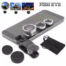 Lensa Fisheye 3in1 For Universal Smartphone Fisheye, Wide,Macro-Silver