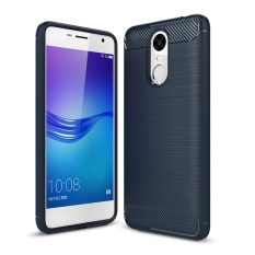 Lenuo Carbon Fiber Silicone Brushed Anti Knock Cell Phone Back Cover TPU Soft Case untuk Huawei Enjoy 6- INTL