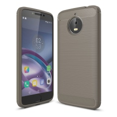 Lenuo Carbon Fiber Silicone Brushed Anti Knock Cell Phone Back Cover TPU Soft Case untuk Motorola MOTO E4 PLUS XT1770 XT1773-Intl