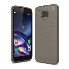 Lenuo Carbon Fiber Silicone Brushed Anti Knock Cell Phone Back Cover TPU Soft Case untuk Motorola MOTO G5S PLUS XT1802 XT1803 XT1806-Intl