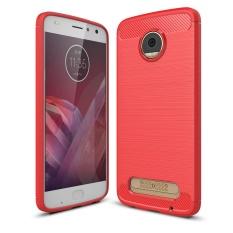 Lenuo Carbon Fiber Silicone Brushed Anti Knock Cell Phone Back Cover TPU Soft Case untuk Motorola MOTO Z2 Play XT1710-10-Intl