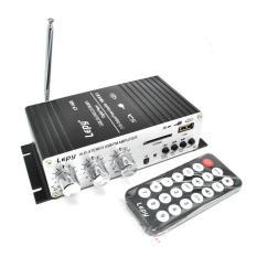 Rimas Lepy Mini Car Hi-Fi Stereo Audio Amplifier Bass Booster MP3 12V With UB Port FM MMC - Black / Hitam Suara Speaker Mobil Jernih Jelas Kuat Pengatur Bass Berkualitas