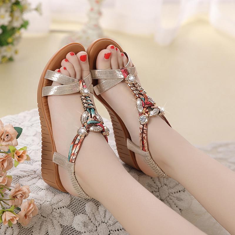 Toko Lereng Perempuan Dengan Batu Kristal Air Datar Kasual Sepatu Wanita Sandal Summer Emas 009 Model Termurah Tiongkok