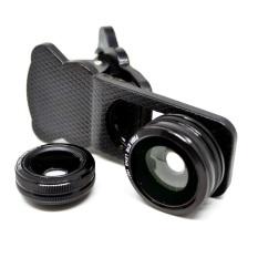 Lesung Universal Clip 3 in 1 Photo Lens - 180 Degree Fisheye Lens + 0.67x Wide Lens + Macro Lens for Smartphone - LX-U301 - Hitam