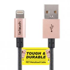 LETOUCH MATRIX Lightning Cable MFI TOUGH & DURABLE Sync/Charge 20CM-ROSE GOLD