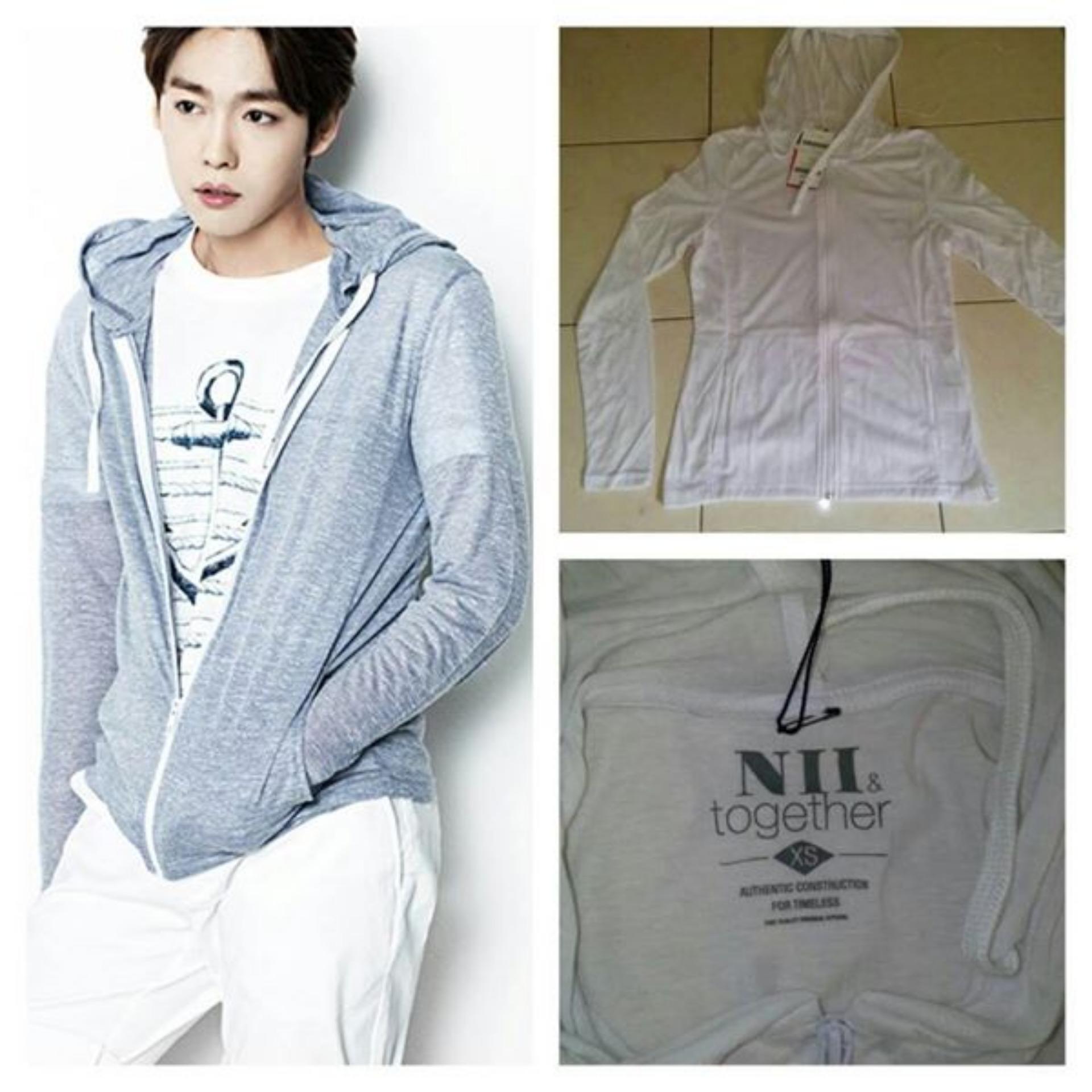 Beli Lf Jaket Polos Lengan Panjang Korea Jaket Hoodie Jaket Hodie Unisex Jaket Wanita Pria Import Good Quality White Indonesia