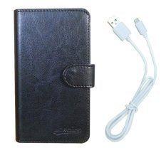 LG AKA Case Book Cover Casing (Hitam) + Gratis 1 x Android USB Data Transfer Cable / Charging  Isi