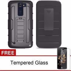 LG K10 K430 Case Holster Slide Hybrid TPU+PC with Belt Clip (Black) FREE Tempered Glass