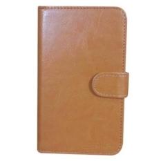 LG K7 Case Book Cover Casing - Coklat Muda