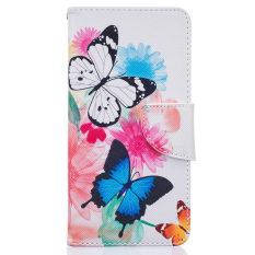 LG K8 Kasus, LG Escape 3 Kasus, LG Phoenix 2 Kasus, PU Bahan Kulit Flip Magnet Stan Wallet Peta Slot Penutup Transparan Kasus Penutup untuk LG K8/LG Escape 3/LG Phoenix 2 Cantik These Butterflies-Internasional