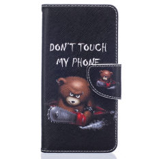 LG K8 Kasus, LG Escape 3 Kasus, LG Phoenix 2 Kasus, PU Bahan Kulit Flip Magnet Stan Wallet Peta Slot Penutup Transparan Kasus Penutup untuk LG K8/LG Escape 3/LG Phoenix 2 Keren Beruang-Internasional