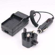 LI-40B/42B Baterai Charger untuk OLYMPUS FE-320 FE-330 FE-340DigitalCamera AC + DC Wall + Mobil (Hitam) -Intl