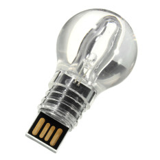 Light Bule Style Glass Usb Flash Drive Memory Stick U Disk Memory Pen Blue Light 8G Diskon Akhir Tahun