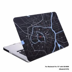 Lightning Power-Rubberized Plastic Hard Shell Cover Case for Macbook Pro 13'' (Model: A1278) w/ a CD-ROM Drive, the NON Retina Display Model (Map Pattern) - intl