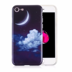 Lightning Daya-Iphone 8 iPhone 7 Tpu Case + Ponsel Tali Penyandang, lembut Ramping Sesuai Fleksibel TPU Case untuk Apple iPhone 7 (34 Bulan & Awan)-Internasional