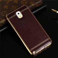 Lengkeng Kulit Plating Gilded TPU Soft Case Back Cover untuk Samsung Galaxy Note 3 N9000-Intl