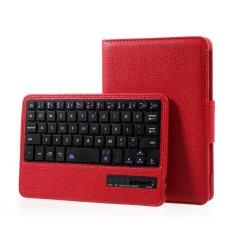 Lengkeng Tekstur Kulit Cover dengan Removable Bluetooth Keyboard untuk Samsung Galaxy Tab A 7.0 T280 T285-Merah-Intl