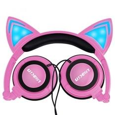 LOBKIN Foldable Wired Over Ear Kids Headphone dengan Glowing Light untuk Anak Perempuan Anak-anak Cosplay Fans, Cat Ear Headphone (pink)-Intl