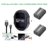 Toko Local Paket 2Pcs Np Fw50 Dual Charger Ruibo For Np Fw50 A6000 Nex 3 5 Online Indonesia