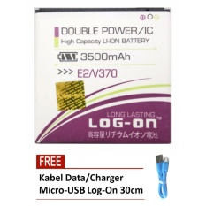 Log On Baterai Acer Liquid E2 V370 - Double Power - 3500 mAh + Free Kabel Micro-USB Flat Original Log-On 30cm