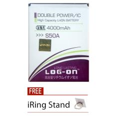 Log On Baterai Advan S50A - Double Power Battery - 4000 mAh + Free iRing Stand