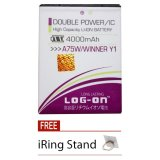 Diskon Log On Baterai Evercoss A75W Winner Y1 Double Power 4000 Mah Free Iring Stand Log On