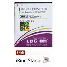Jual Beli Online Log On Baterai Evercoss R40G Double Power Battery 2700 Mah Free I Ring Stand